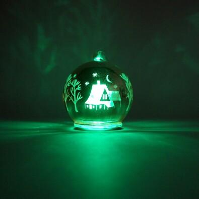 Svítící LED skleněná koule, zlatá, zlatá