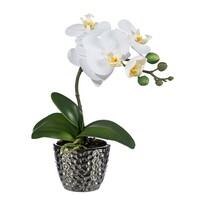 Orhidee artificială în ghiveci, alb, 35 cm