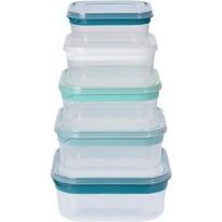 5dílná sada čtvercových plastových dóz s víčkem