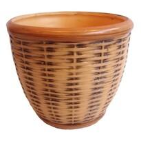 Osłonka ceramiczna na doniczkę Wicker brązowa, śr. 12,5 cm