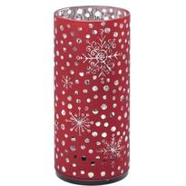 Vánoční LED dekorace Cylinder with snowflakes červená, 7 x 15 cm