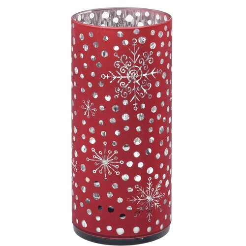 Decorațiune LED de Crăciun Cylinder withsnowflakes, roșu, 7 x 15 cm