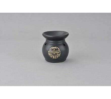 Keramická aromalampa, černá s dekorem, černá