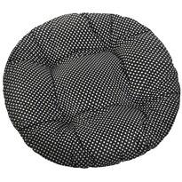 Siedzisko Adela okrągłe pikowane Grochy czarne, 40 cm