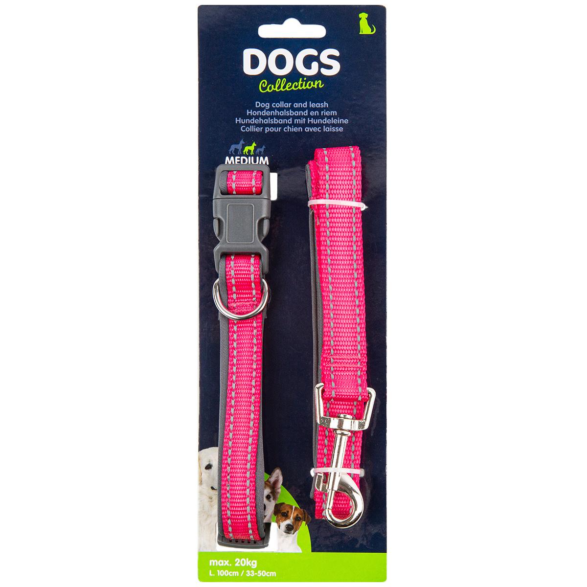 Dogs Obojek pro psa s vodítkem vel. medium, růžová