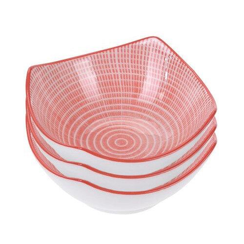 3 részes porcelántál készlet, piros