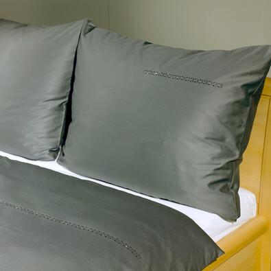 Saténové povlečení Swarovski antracit, 220 x 200 cm, 2 ks 70 x 90 cm