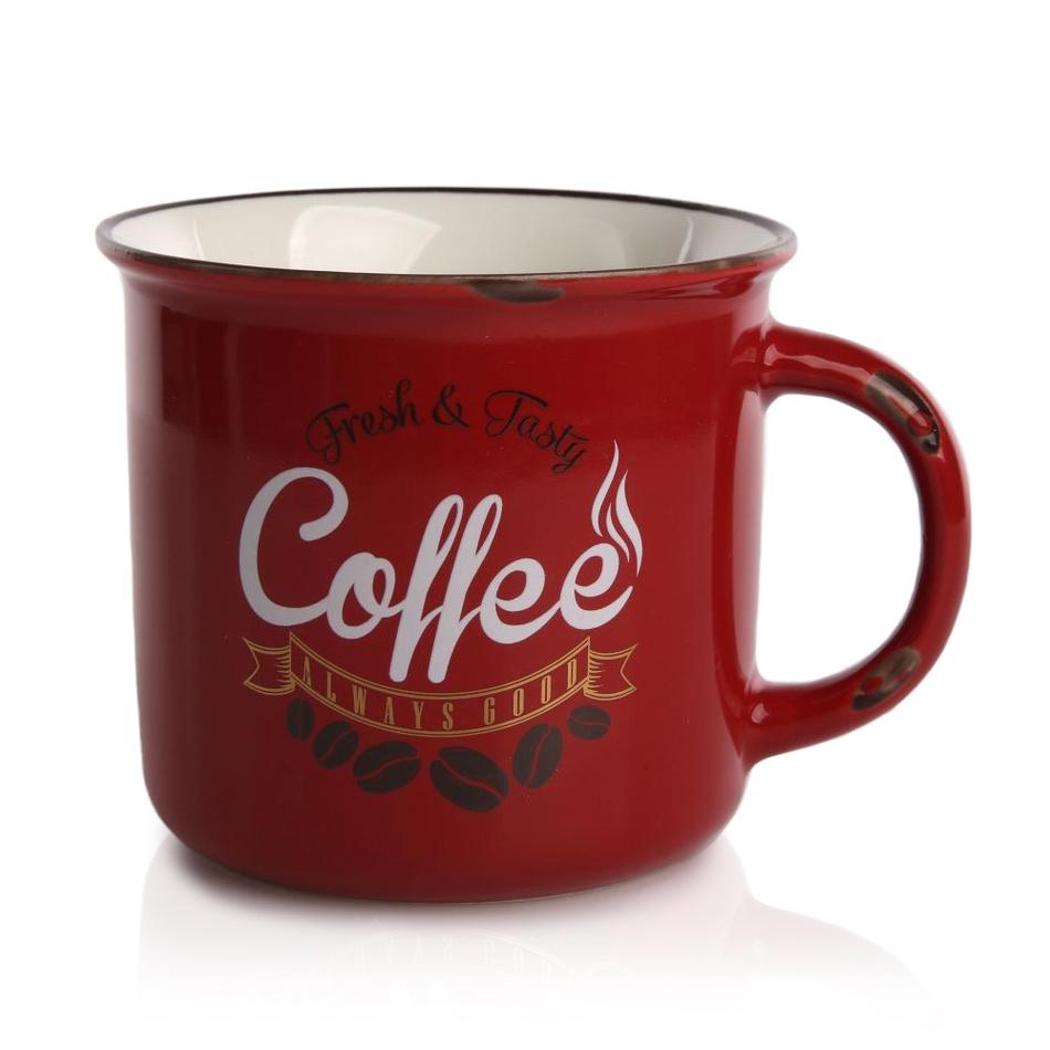 Porcelánový hrnek Cofee 330 ml, červená