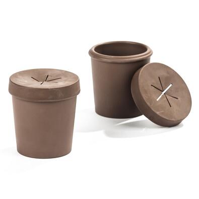 Váza na jednu rostlinu Normann 8 cm, tmavě hnědá, sada 2 ks