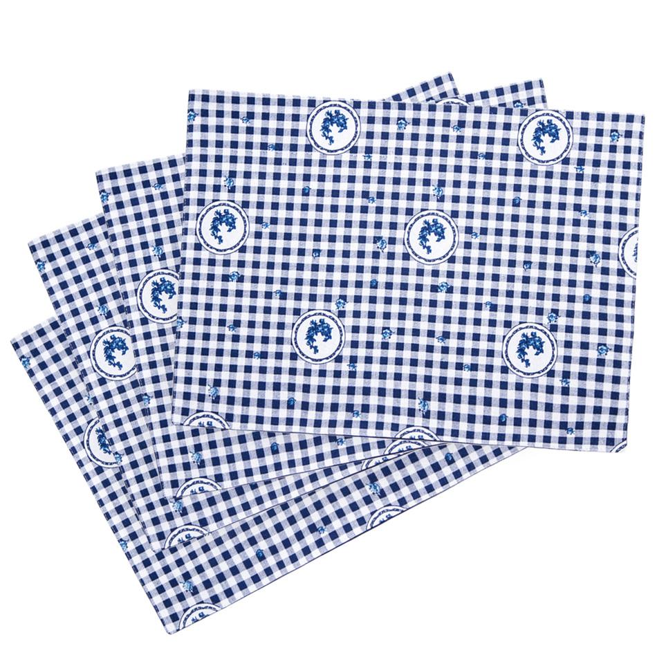 Trade Concept Prostírání Country kostka modrá, 33 x 45 cm, sada 4 ks