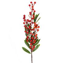 Umělá větvička s bobulkami a lístky 60 cm, oranžová