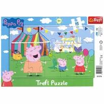 Trefl Puzzle Prasátko Peppa V zábavním parku, 15 dílků