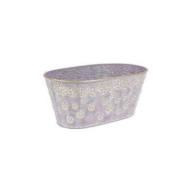 Kovový obal, truhlík na květiny Daisy 32 x 16 cm, fialová