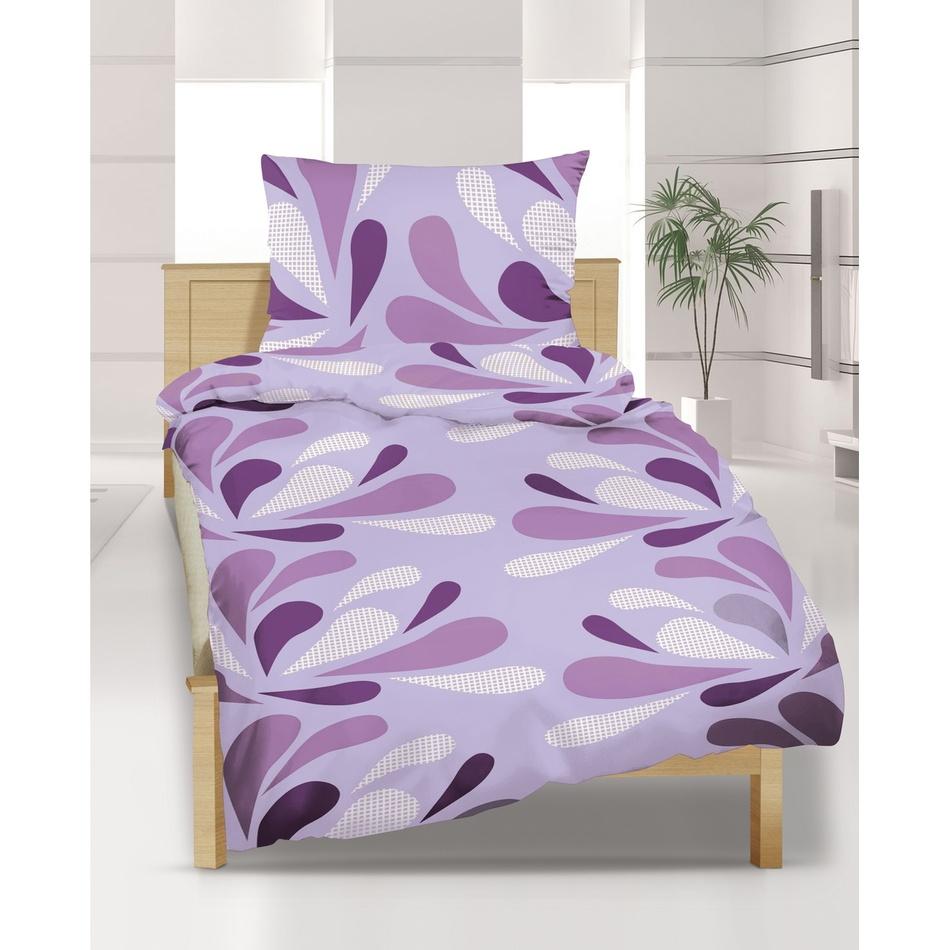 Bellatex Obliečky Mikroplyš Kvapky fialové, 140 x 200 cm, 70 x 90 cm