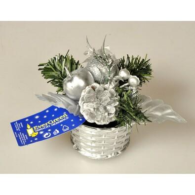 Vánoční zdobený košík, v. 14 cm, stříbrný, stříbrná