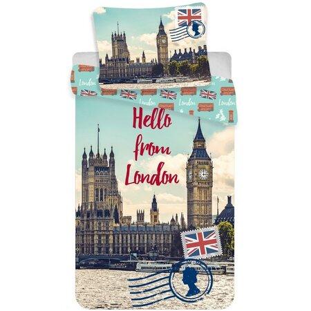 Pościel bawełniana Londyn Hello, 140 x 200 cm, 70 x 90 cm
