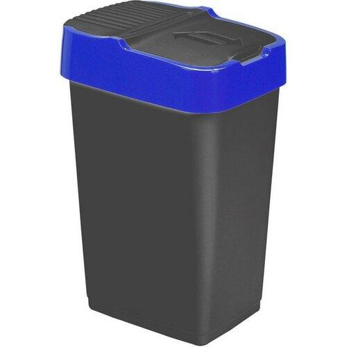 Heidrun Odpadkový kôš 60 l, čierny s modrým pruhom, 60 l