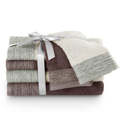 AmeliaHome Sada uterákov a osušiek Aria béžová/hnedá, 2 ks 30 x 50 cm, 2 ks 50 x 90 cm