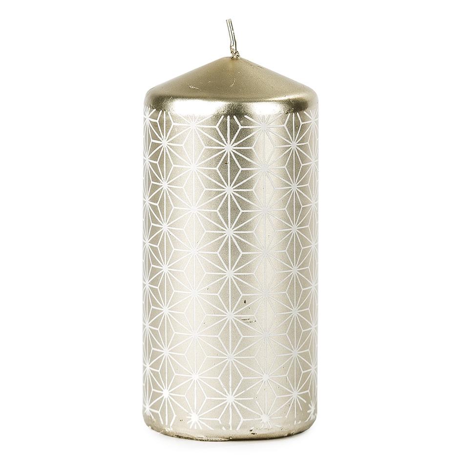 Vianočná sviečka 6,5 x 14 cm, strieborná