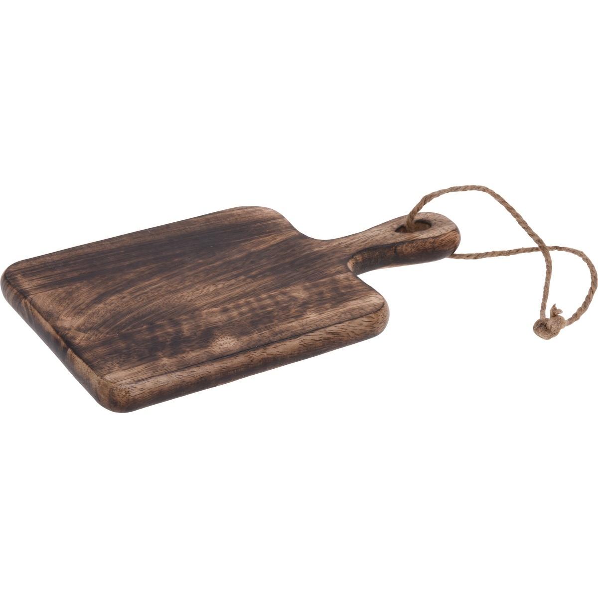 Dřevěné krájecí prkénko s úchytem, 14,5 x 25 x 1,5 cm