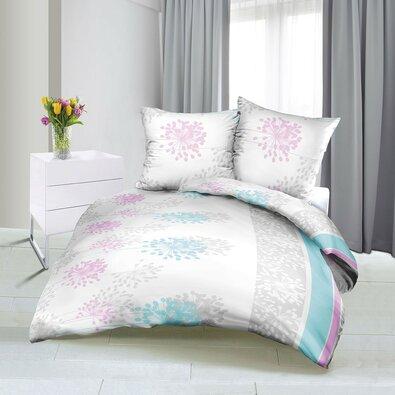 Bellatex Saténové obliečky Jar modro-ružová, 140 x 220 cm, 70 x 90 cm
