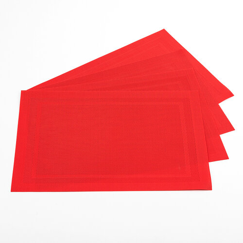 Prestieranie PVC červená, 45 x 30 cm, súprava 4 ks