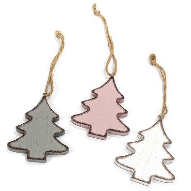 Sada dřevěných vánočních ozdob Klara Stromek 8 cm, 3 ks