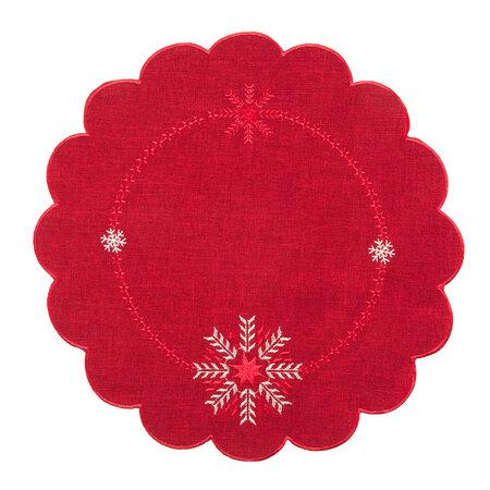 Hópelyhek karácsonyi abrosz piros, átm. 35 cm