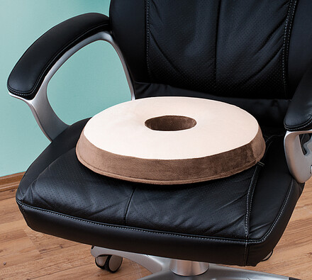 Kruhový polštář, béžová + hnědá, 38 x 5 x 10 cm