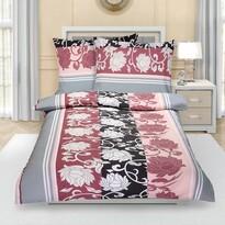 Krepové obliečky Pivonka sivo-ružová, 140 x 200 cm, 70 x 90 cm
