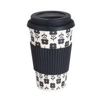 Excellent Houseware Bambusový termohrnček 425 ml, čierna