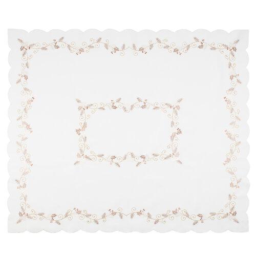 Fehér magyal karácsonyi abrosz, 120 x 140 cm