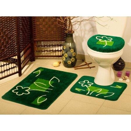Koupelnové předložky Borneo zelená, sada 3 ks