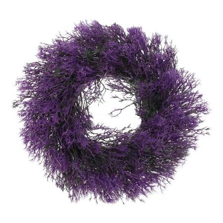 Fű műkoszorú, lila, átmérő: 30 cm