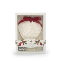 Fahéj és alma karácsonyi illatos viasz olajjal, fehér, 15 cm