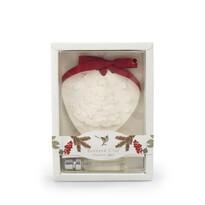 Vianočný vonný íl s olejom Škorica a jablko biela, 15 cm