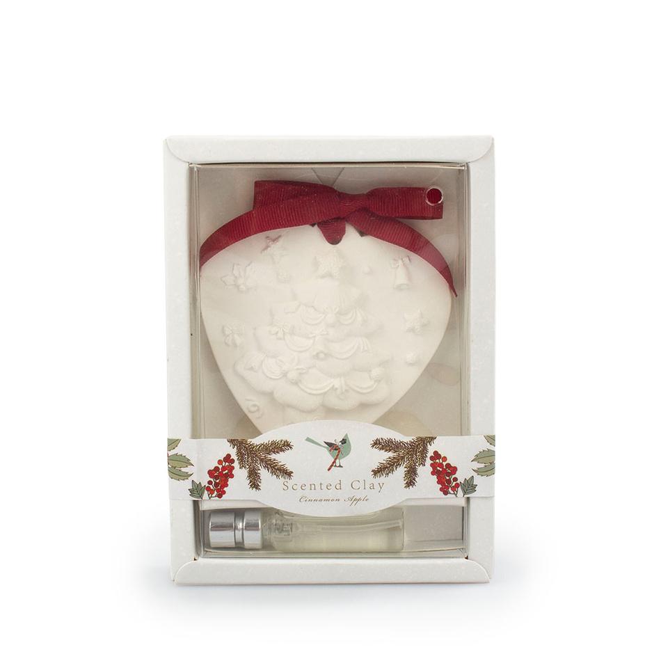 Fotografie Vánoční vonný jíl s olejem Skořice a jablko bílá, 15 cm