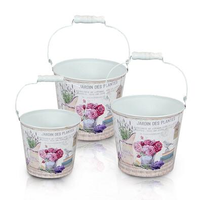 Obal na květináč kbelíček Růže, 3 ks