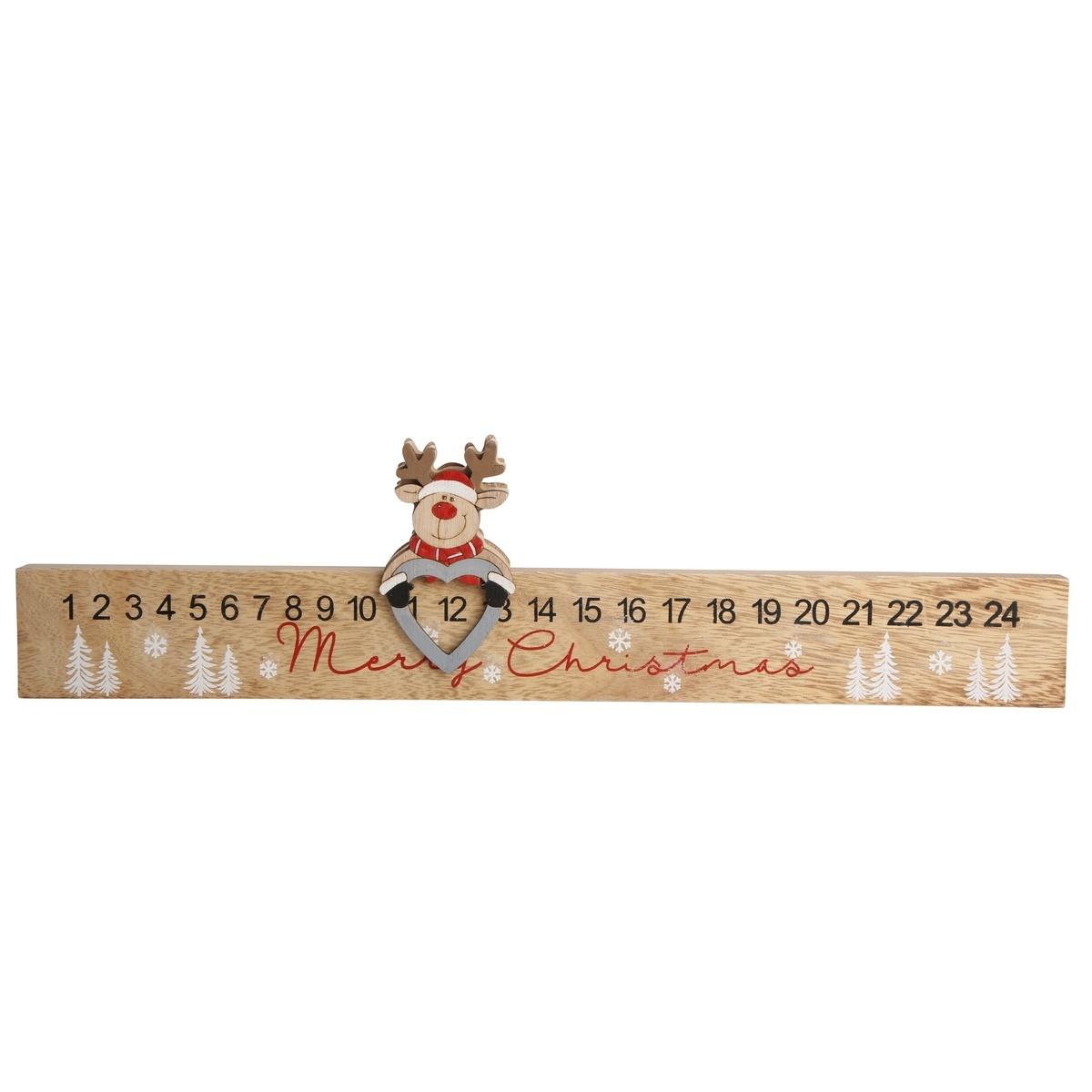 Altom Dřevěný adventní kalendář Deer, 38 x 9,5 cm