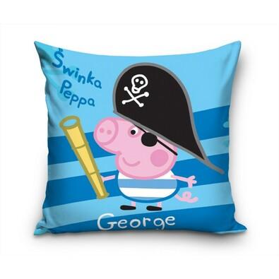 Polštářek Prasátko Peppa George Pirát, 40 x 40 cm, modrá