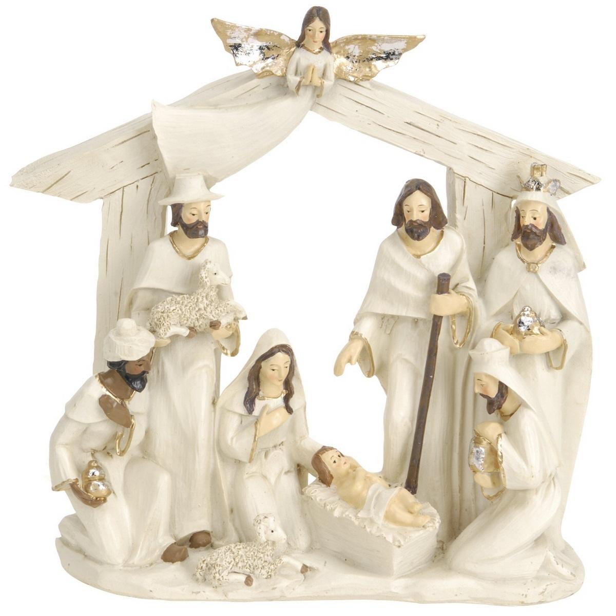 Vánoční dekorace Betlém hnědá, 22 x 7 x 22 cm
