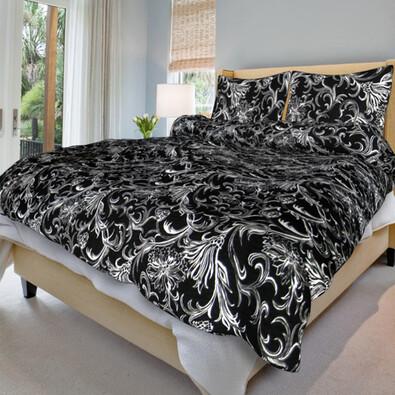 Bavlněné povlečení Zuzana černá, 140 x 220 cm, 70 x 90 cm