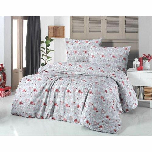 Kvalitex Bavlnené obliečky Vločka červená, 140 x 200 cm, 70 x 90 cm