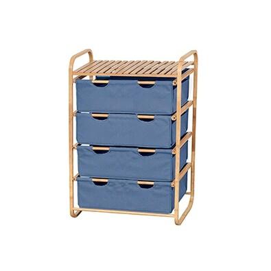 Regál bambusový 4-šuplíky (zásuvky v modré farbe) výrobca AUTRONIC ATC.DR-018A