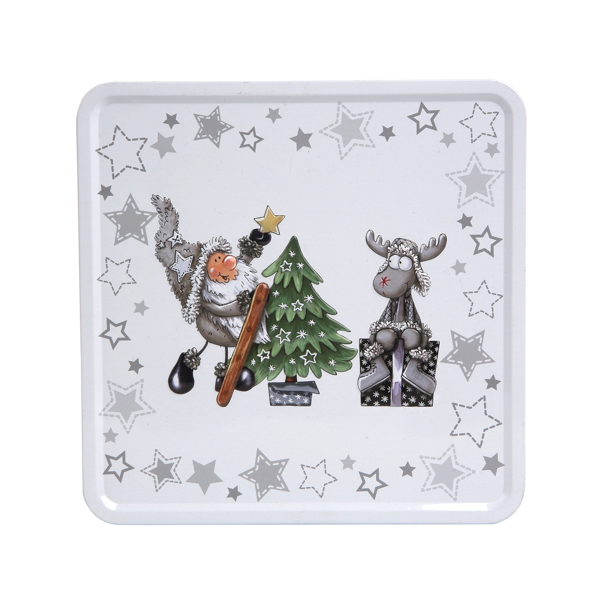 Altom Plechová dóza s vekom X-Mas Santa with reindeer and tree, 20 x 20 x 8 cm