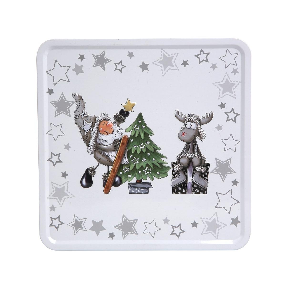 Altom Plechová dóza s víkem X-Mas Santa with reindeer and tree, 20 x 20 x 8 cm