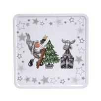 Altom Plechová dóza s vekom X-Mas Santa with reindeer and tree, 20 x 20 x 8 cm