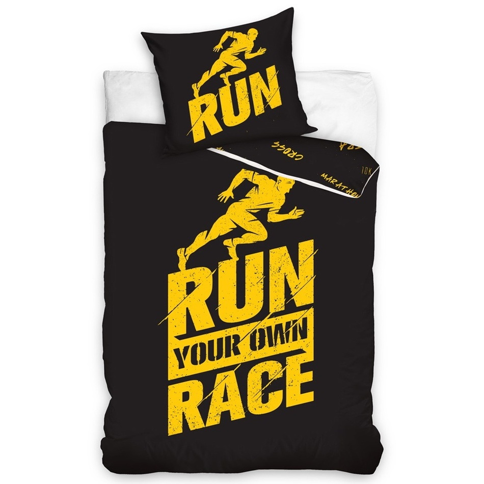 TipTrade Perkálové obliečky Run čierna, 140 x 200 cm, 70 x 90 cm