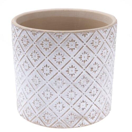 Keramický obal na květináč Ornamental bílá,pr. 13,5 cm
