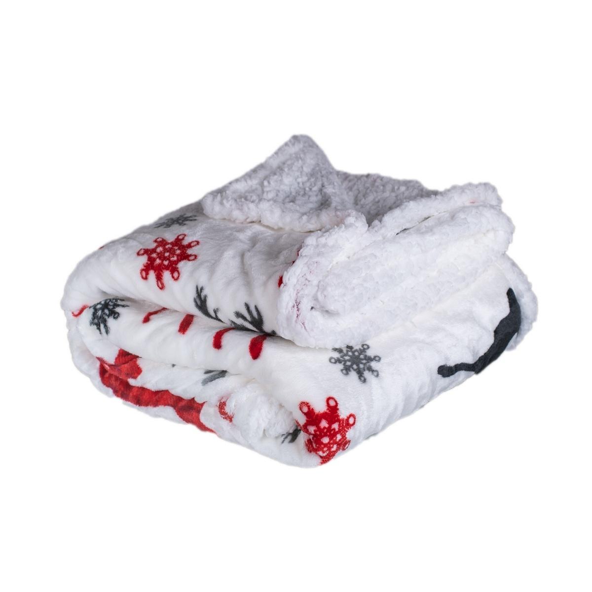 Pătură imitație blană de miel Cerb, roșie, 150 x 200 cm imagine 2021 e4home.ro